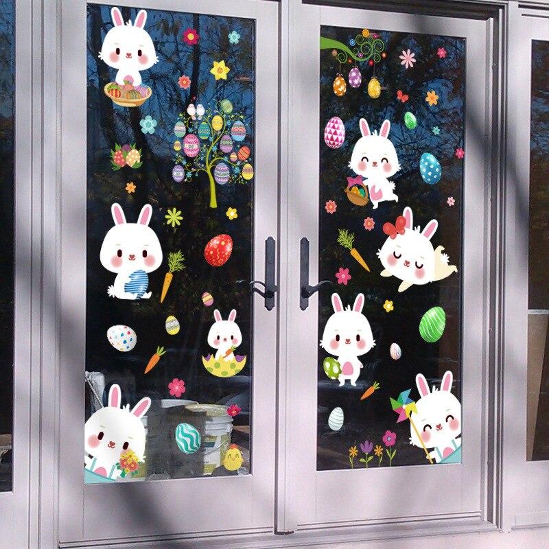 Happy Easter Bunny яйцо электростатического Стикеры окна Стекло без клея холодильник Стикеры украшения дома Mall пасхальные стены Стикеры s