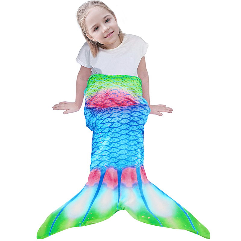 Colorful Fish Scale Mermaid Blanket For TV Mermaid Tail Throw Blanket For Kid Baby Soft Sofa Wearable Warm Plaid Flannel Blanket-2