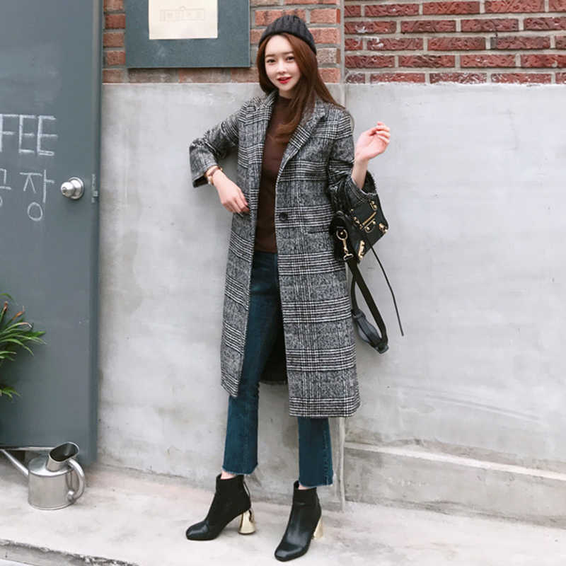 2019 Spring Autumn Women's Wool  Plaid Coat New Fashion Long Woolen Coat Slim Type Female Winter Wool Jackets Female Outwear
