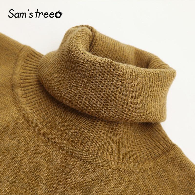 Image 5 - SAMS TREE Solid Turtleneck Minimalist Style Pullover Sweater Women 2019 Autumn Full Sleeve Knitted Casual Office Ladies TopsPullovers   -