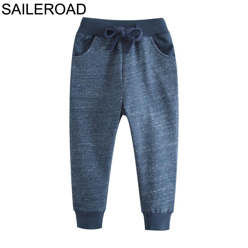 SAILEROAD Soild Boy Long Pants for Kids Sweaterpants Autumn Children Sport Trousers Cotton Girls Pockets for Child Clothes 1