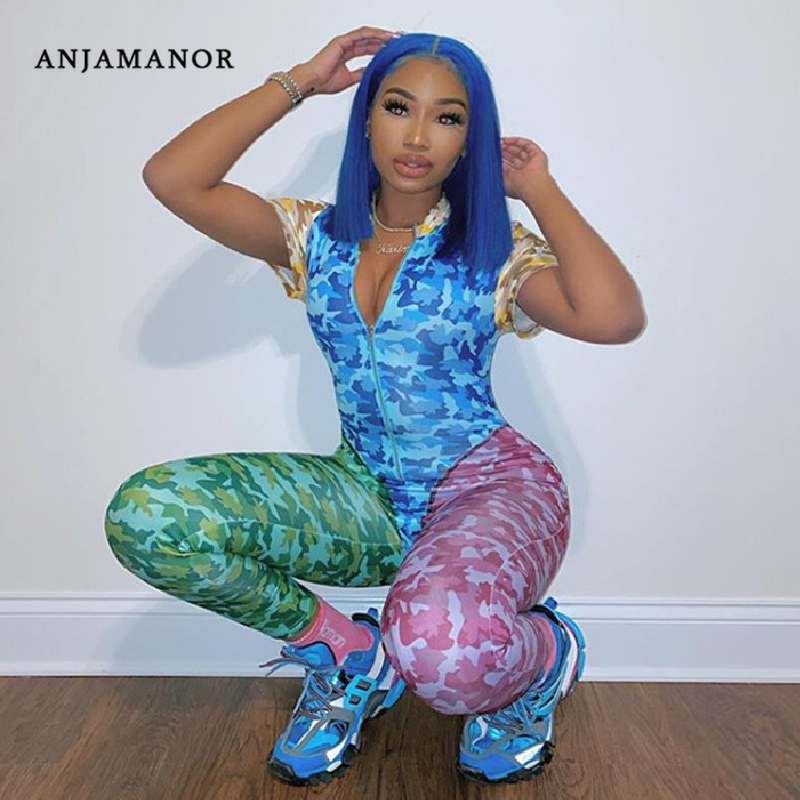 ANJAMANOR Color Block Camo Print Sexy Two Piece Set Bodysuit Leggings Club Outfits Matching Sets Tracksuit Women Clothes D37AG04