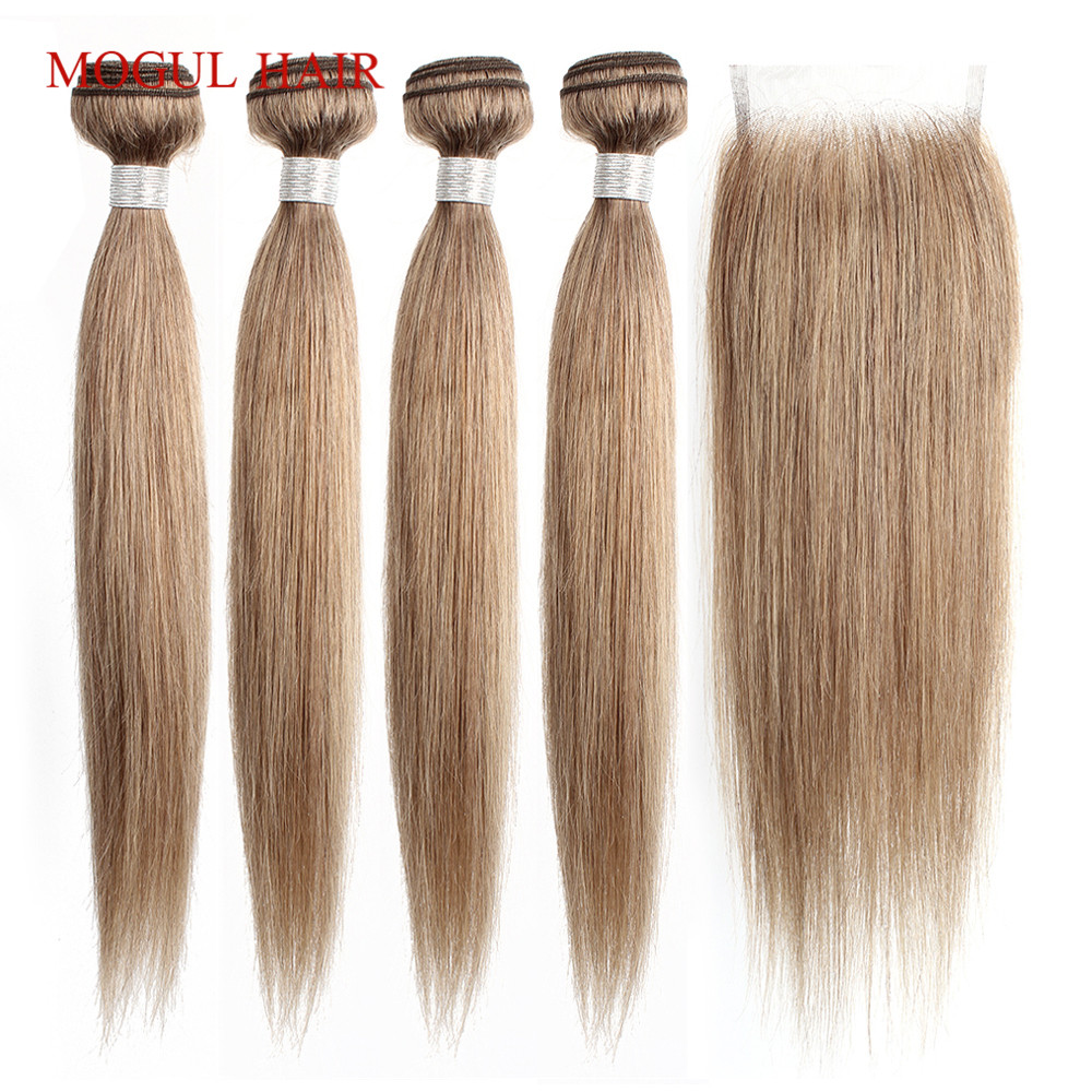 MOGUL HAIR Color 8 Ash Blonde Straight Bundles With Closure 16 24 inch Pre Colored Brazilian Non Remy Human Hair Extension-in 3/4 Bundles with Closure from Hair Extensions & Wigs