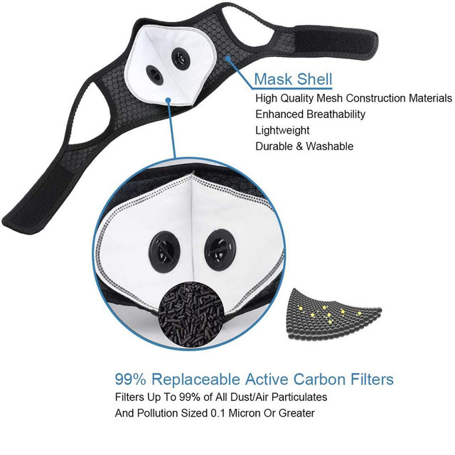 Bike Face Cover With 3pcs Filter Unisex Dustproof Cycling Outdoors Sports Mouth Cover Sweat Headband mascarilla con valvula mask 4