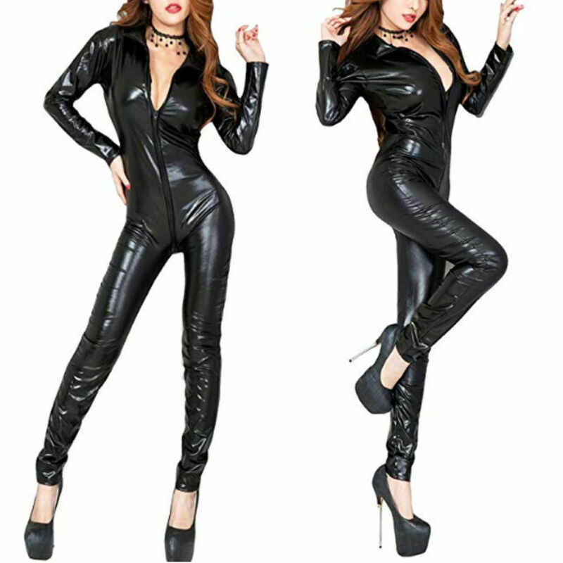 Frauen Catsuit Dessous Wetlook Glänzende PU Leder Body Dance Clubwear Overall