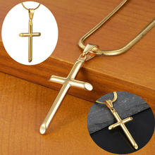 Fashion Jewelry Gold Color Stainless Steel Cross Pendant Necklaces Men Women Chain Prayer