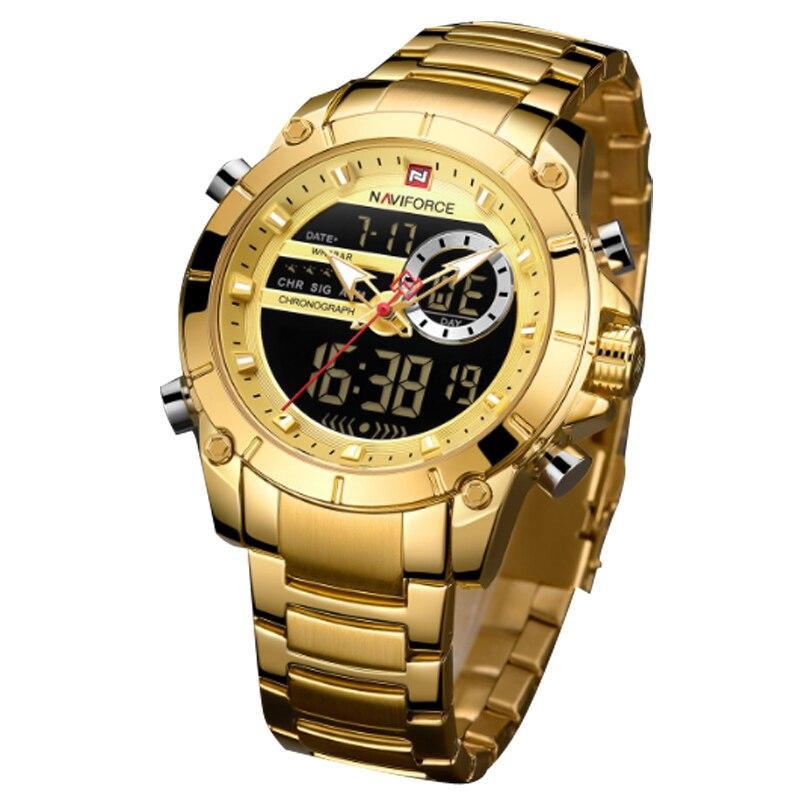 Купить мужские спортивные водонепроницаемые кварцевые часы с двойным