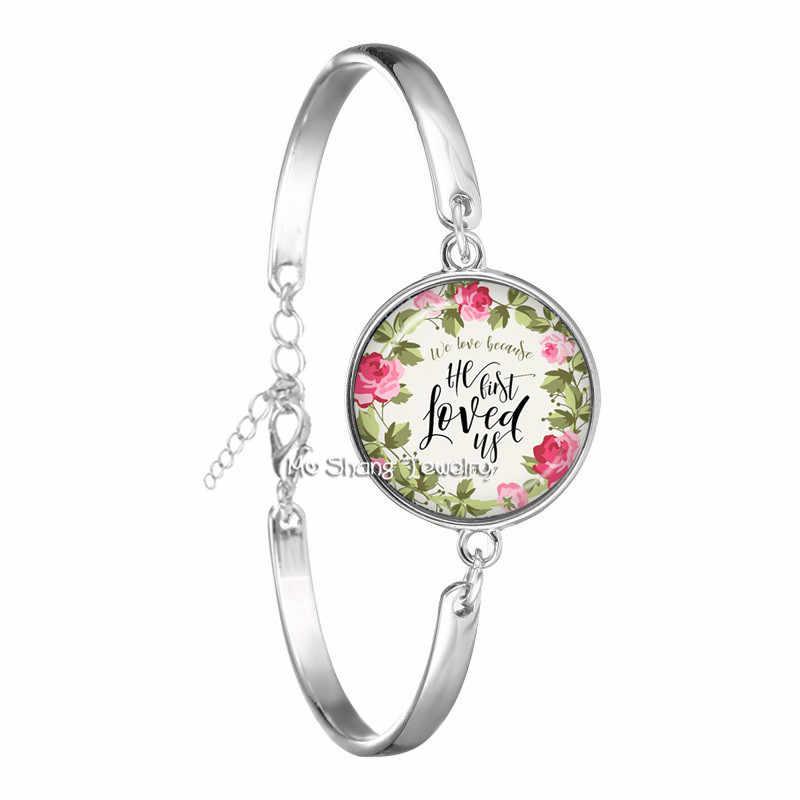 Nueva pulsera de verso de la Biblia a la moda brazalete de cristal hecho a mano cita de la escritura arte joyería mujeres hombres regalos cristianos