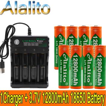 2020 18650 bateria 3 7V 12800mAh akumulator liion do Led bateria do latarki 18650 bateria hurtowa + ładowarka USB tanie i dobre opinie LISM 18650 12800mAh Battery Li-ion 3500 mAh Ładowarka Zestawy Pakiet 1 1-10