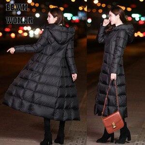 Image 2 - 黒の冬のジャケット女性ロング厚く暖かいパーカーコートの女性のファッションスリムパーカー綿パッド入り ZO854