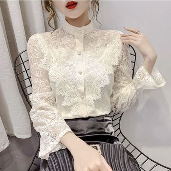 2020 Spring Autumn Women Lace Pearl Splicing Shirt Female Long sleeve Stand-up Collar Button Tops Flared sleeves Blouses grey chimney collar flared sleeves irregular hem sweater