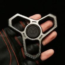 Non-Metallic Carbon Fiber Fidget Spinner EDC Finger Buckle Fist Button Autism Child Stress Reliever Gyro Toys Funny Gift 2021