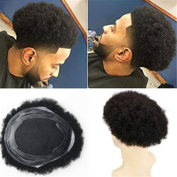 Eseewigs Mens Toupee Afro Curly 10x8 Inch Replacement PU and MONO Lace Hairpiece for Men 100% Remy Human hair Color 1B#