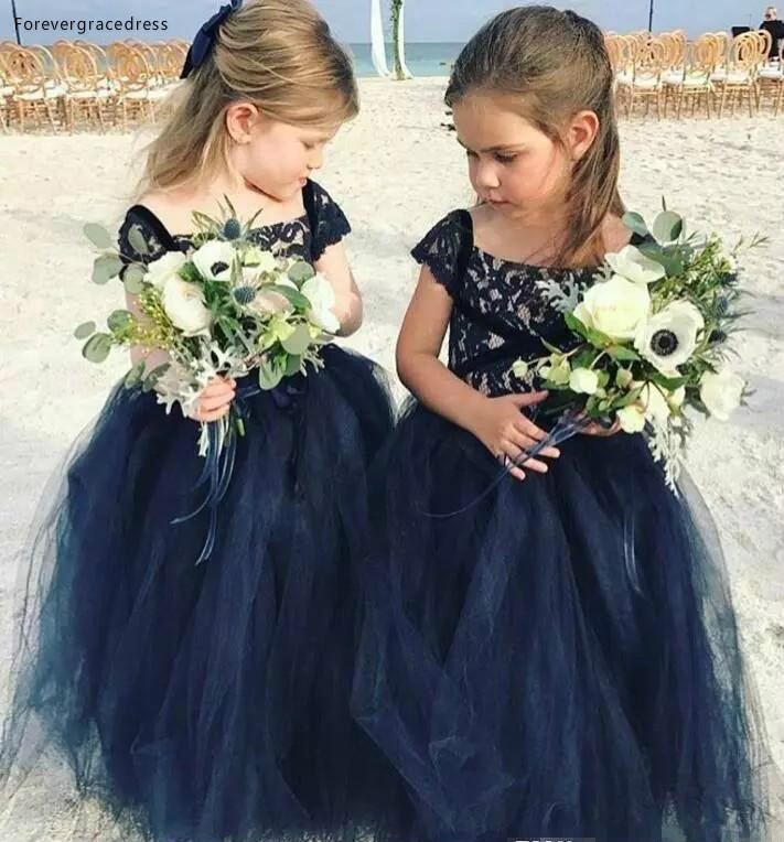 2019 Princess Cheap Lovely Cute Navy Blue Long Lace   Flower     Girl     Dresses   Daughter Toddler Pretty Kids Pageant First Holy Gowns