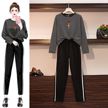 2019 Autumn Tracksuit women two piece outfits Plus size Black Striped rose embroidery top and trousers female 2piece set clothes