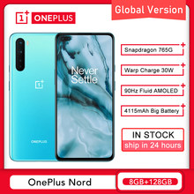 Versão global oneplus nord 5g 8gb 128gb smartphone snapdragon 765g 6.44 90 90hz amoled 48mp quad warp 30t telefone móvel