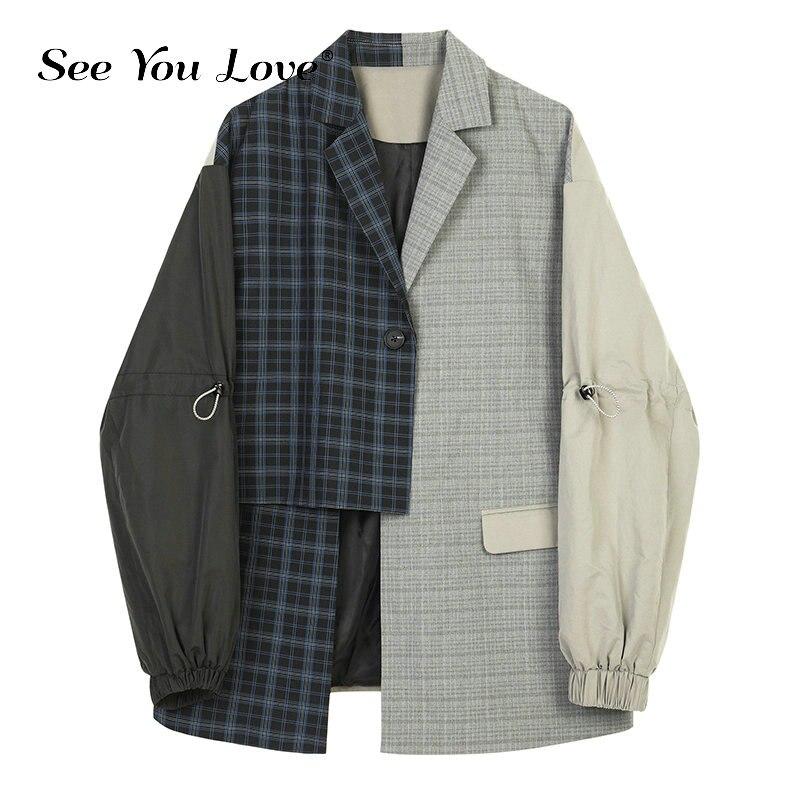 See you love Women Blue Plaid Asymmetrical Big Size Blazer New Lapel Long Sleeve Loose Fit Jacket Fashion Autumn Winter 2019 New
