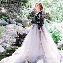 цена на Sexy Long Sleeves Lace Applique Black Wedding Dresses 2020 Cut-out Back Bridal Gown Long Train Tulle Vestidos De Noiva Plus Size