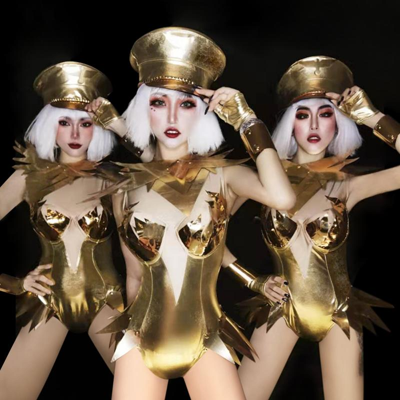 New Women Gogo Gold Dance Costume Jazz Clothing Performance Stage Dress Suit Sexy Personality DJ Outfit Singer Clothes Nightclub