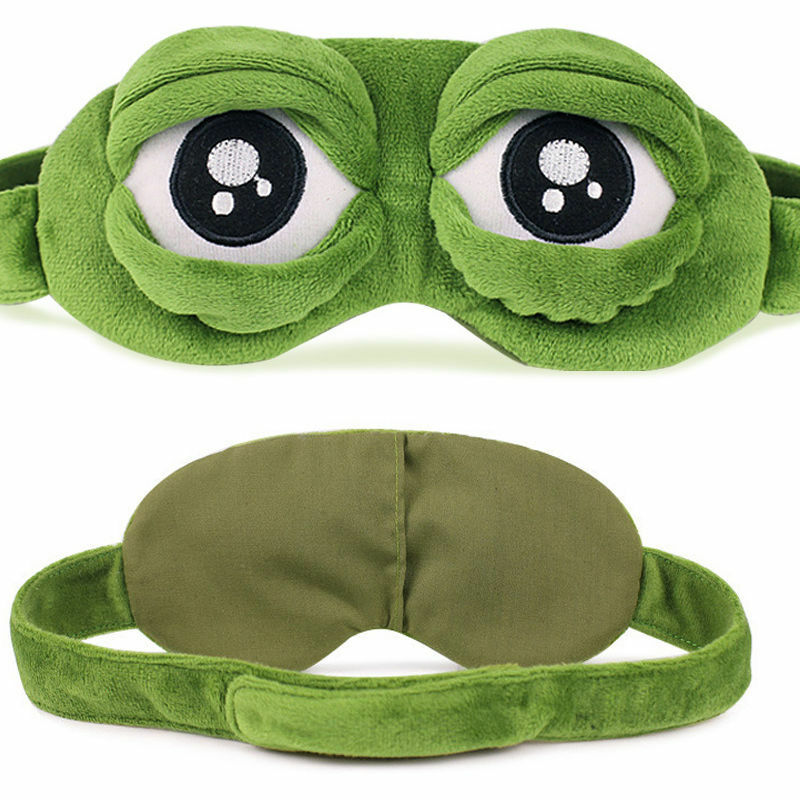 Hirigin 2019 Fashion Kawaii Travel Sleep Eye Mask 3D Sad Frog Padded Shade Cover Sleeping Closed/Open Eye Funny Mask Adult/Kids