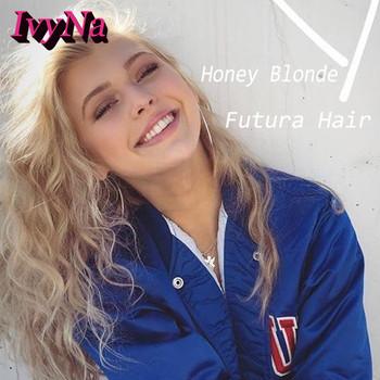 IvyNa miód blond syntetyczna koronka przodu peruki dla czarnych kobiet Futura włosy syntetyczne 13 #215 6 peruki typu Lace Front luźne peruki z kręconymi włosami długi tanie i dobre opinie Ivy Na Kanekalon long Kręcone 1 sztuka tylko Jasny brąz 150 Średnia wielkość Swiss koronki Honey Blonde 103