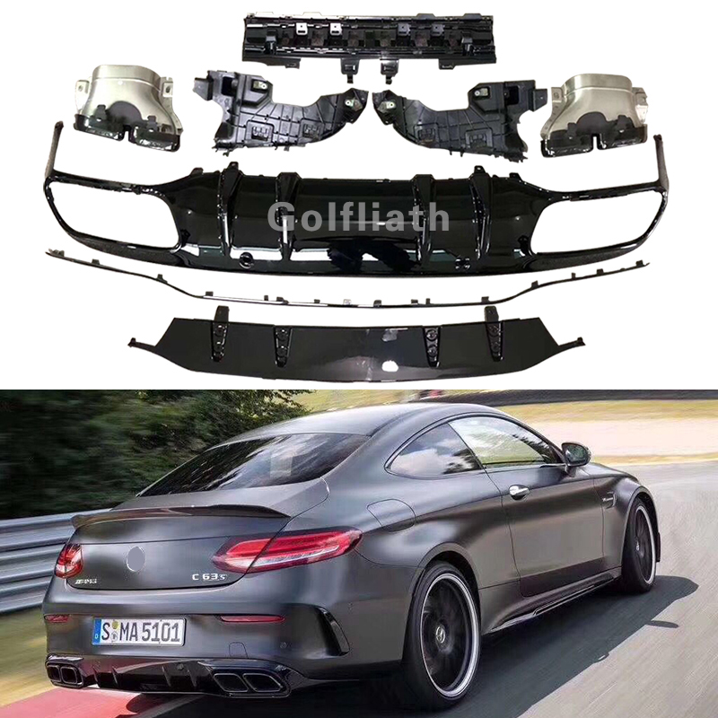 C63 AMG style Rear Diffuser Lip Bumper Protector With Exhaust Muffler for Mercedes Benz C Class W205 Coupe 2-Door 2016 -2019