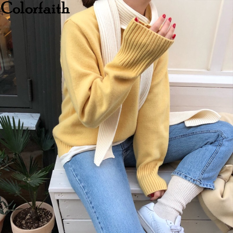 Colorfaith 2019 New Autumn Winter Women Sweaters Pullovers Warm Minimalist Knitting Elegant Ladies Loose Solid Tops SW7008