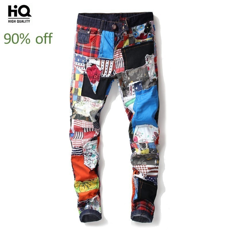 Top Brand New Fashion Casual Hole Jeans Pants Men Slim Spliced Streetwear Singer Stage Trousers Costume Nightclubs Denim Pants