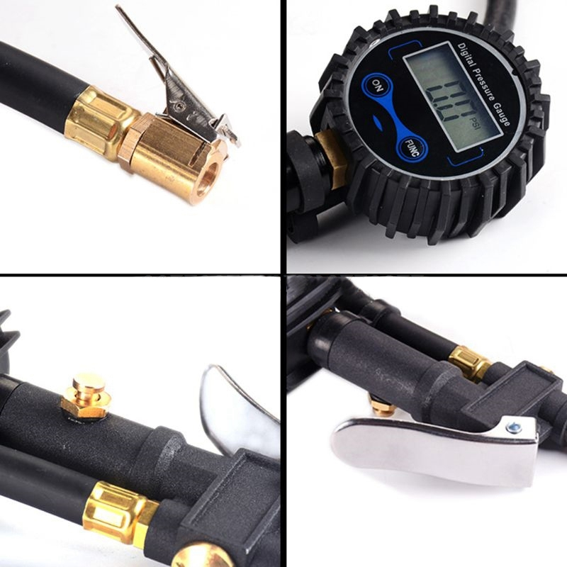 Digital Tire Inflator Pressure Gauge Air Compressor Pump Quick Connect Coupler for Car Truck Motorcycle