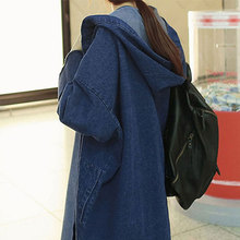 2020 Spring New Denim Jacket Korean Version Of The Long Loose Hooded Over-the-kn