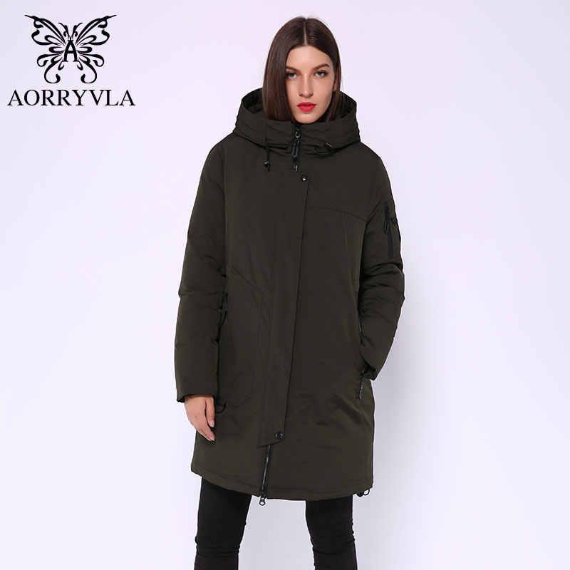 AORRYVLA 2020 겨울 롱 자켓 여성 후드 파카 재킷 방풍 칼라 두꺼운 따뜻한 캐주얼 겨울 여성 패션 재킷 뜨거운