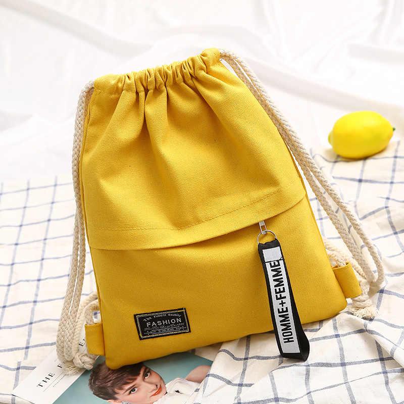 1PC Neue Mode Leinwand Schule Taschen Rucksack Tasche Tragbare Casual String Rucksack für Frauen Männer Mochila Saco Rucksack