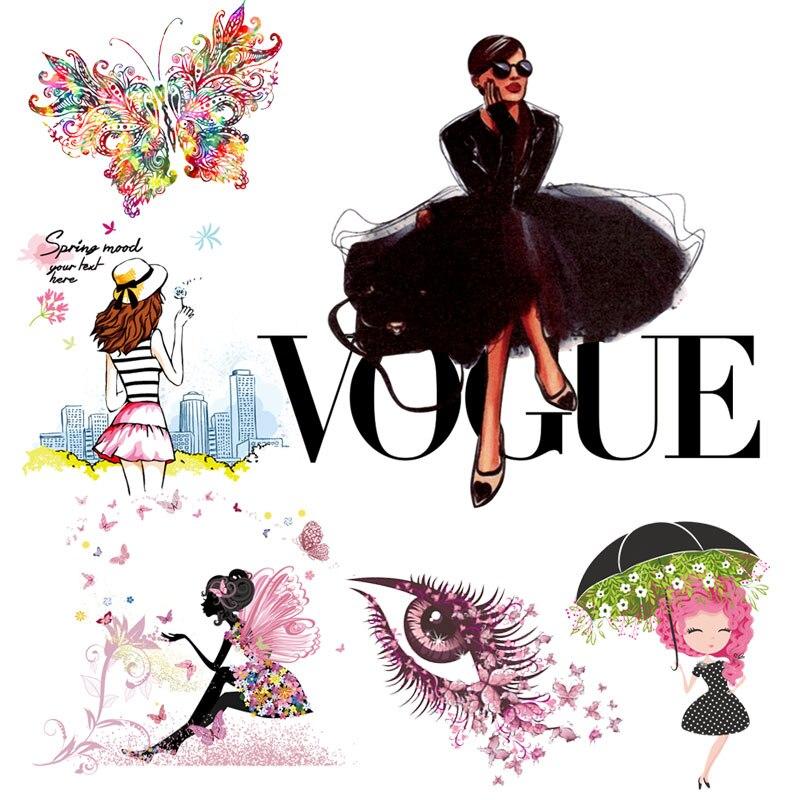 Нашивки с аппликацией из железа для переноса одежды, наклейки s, модные пластыри VOGUE, термо наклейки на одежду, женская футболка в полоску Заплатки      АлиЭкспресс