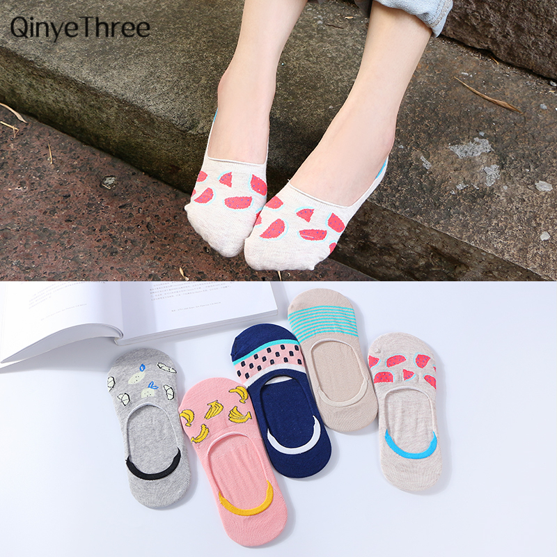 Cute Fruit Candy Color Cotton Socks Girls Sock Slippers Pineapple Watermelon Banana Striped Short Invisible Socks