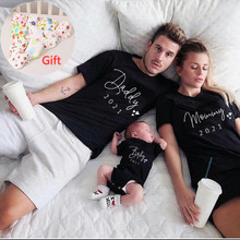 Funny New Daddy Mommy Baby 2021 Family Look Black Cotton Family Tshirt Mother Father Baby Matching Family Outfits