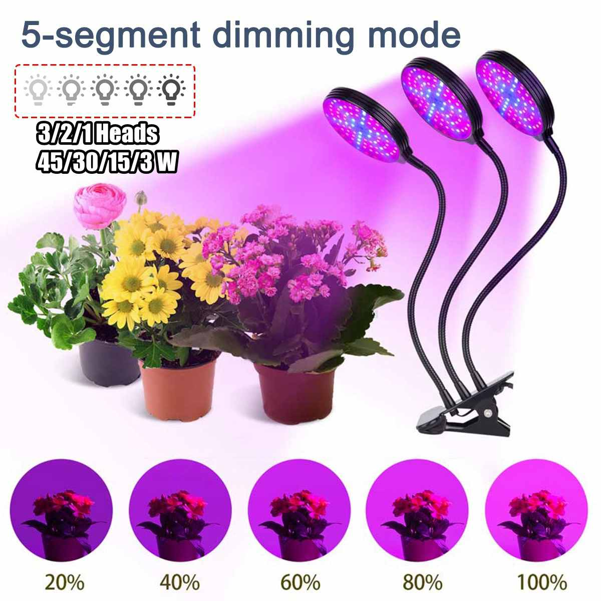 1/2/3 Heads Spectrum LED Grow Light UV Plant Lamp Fito Lamp For Indoor Seedlings Flower Grow Tent Box Hydroponic Led Phyto Lamp