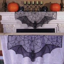 Halloween Bats Lace Window Curtain  Spider Web Bud silk tulle fireplace Black wire netting curtain cloth 93 x57cm