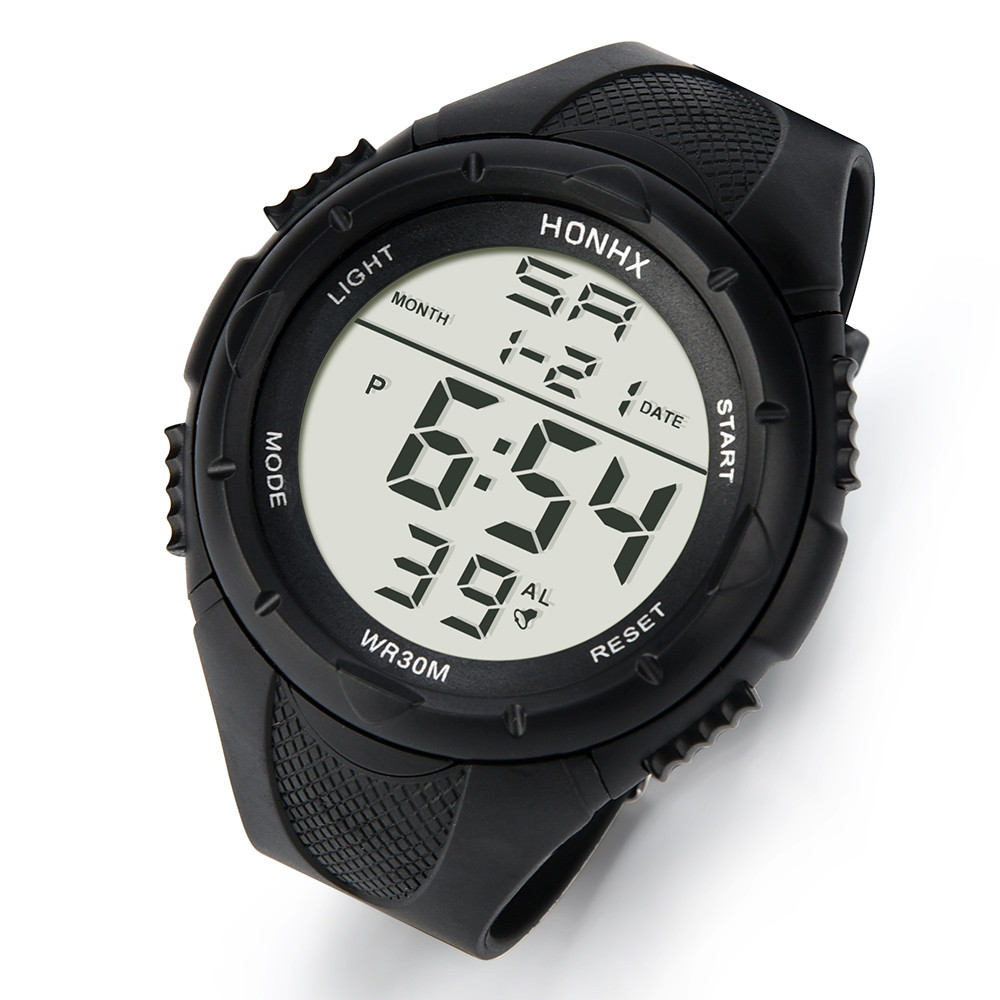 Fashion Men's LED Digital Alarm Sport Watch Silicone Military Army Quartz Wristwatches
