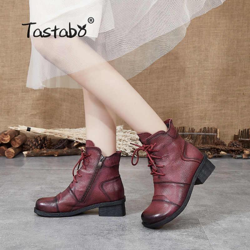 Tastabo Echtem Leder damen stiefeletten Khaki Schwarz Rot wein S88205 tägliche frauen stiefel Retro Stil Komfortable weichen boden