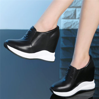 Slip On Trainers Women Genuine Leather Wedges High Heel Party Pumps Shoes Female Low Top Round Toe Fashion Sneakers Casual Shoes
