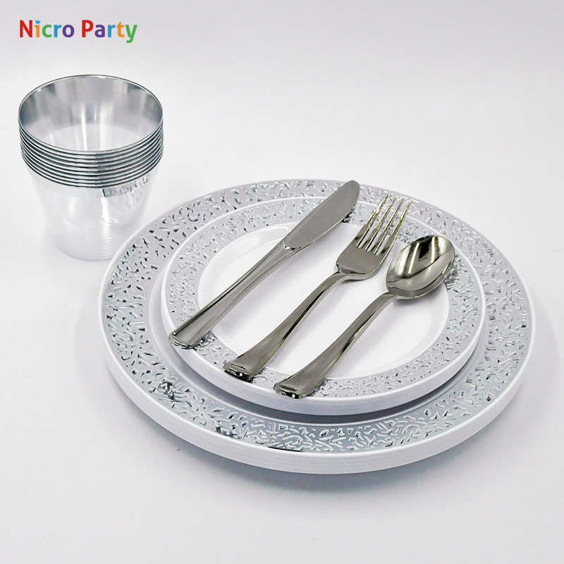 Nicro 10/20/50 Pcs/set Silver Cups Plastic Plates Fork Knives Spoons Disposable Clear Dinnerware Set Party Supplies
