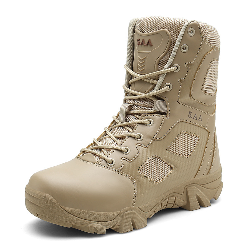 Large Size Hight-top Men's Boot Special Forces Training Combat Combat Boots Zipper Stick Anti-slip Closed-toe Faux Pierced Tacti
