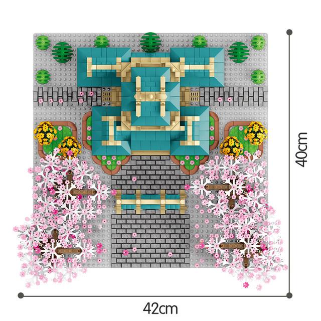 2529PCSC Friends City Street View Tree House Flower Architecture Bricks herry Blossom Season Model Building Blocks Toys for Girl
