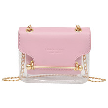 Fashion Women Brand Design Small Square Shoulder Bag Clear Transparent PU Composite Messenger Bags New Female Handbags #YL5
