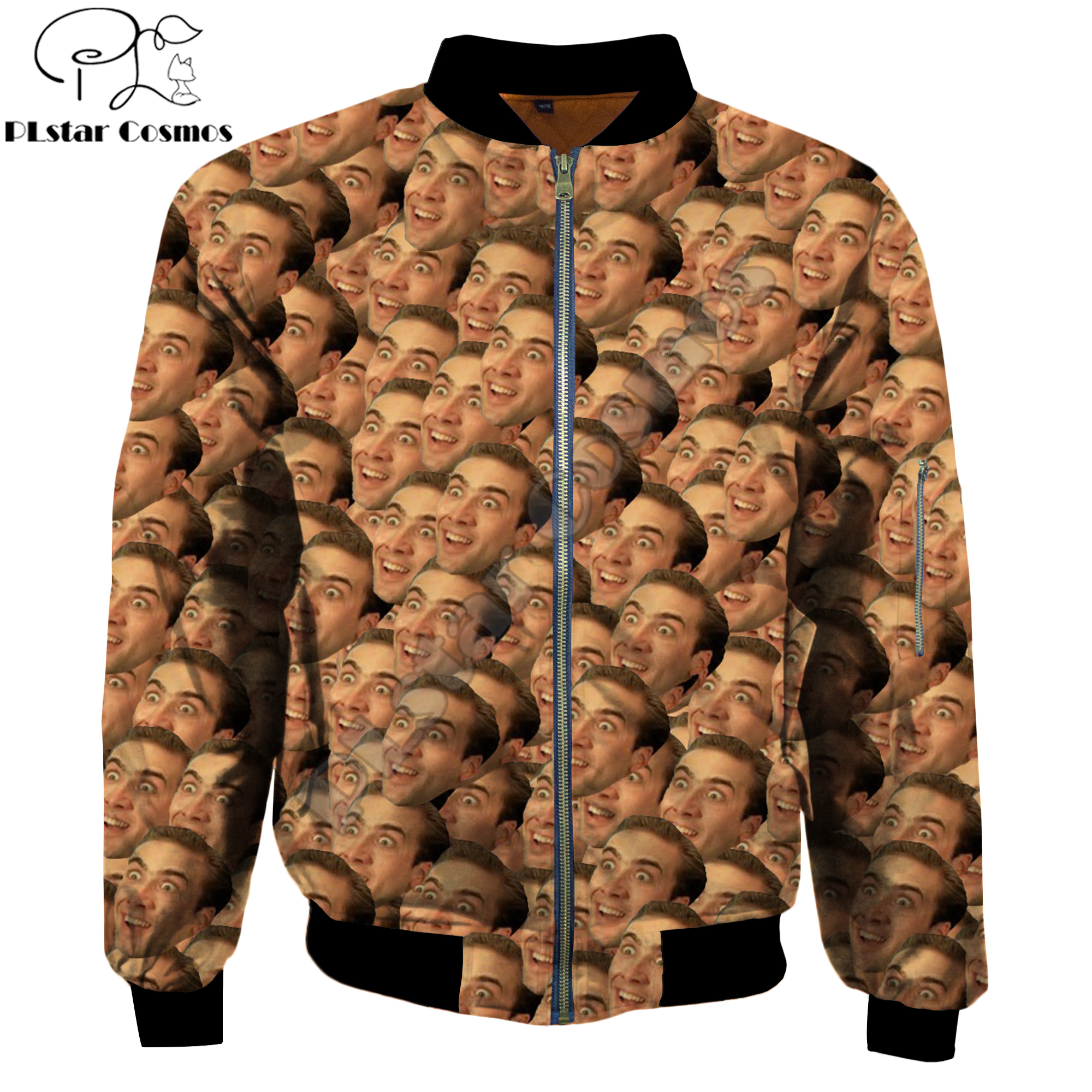 Nicholas Cage has many faces Funny 3D Print Men's Warm <font><b>Bomber</b></font> <font><b>Jackets</b></font> <font><b>Unisex</b></font> Casual Thick winter zip Long Sleeve pocket outwear image