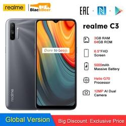 Realme C3 Android 10 смартфон 6,52 дюйммини-дисплей 3 Гб 64 Гб Helio G70 мобильный телефон 12MP AI камера 4G мобильный телефон 5000 мАч NFC