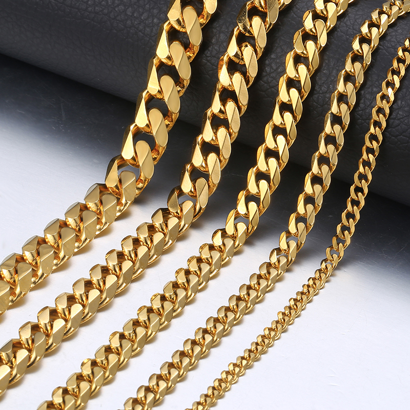 3/5/7mm Stainless Steel Necklace for Men Women Gold Black Silver  Tone Necklace Curb Link Chains Men Fashion Jewelry Gifts LKN12Chain  Necklaces