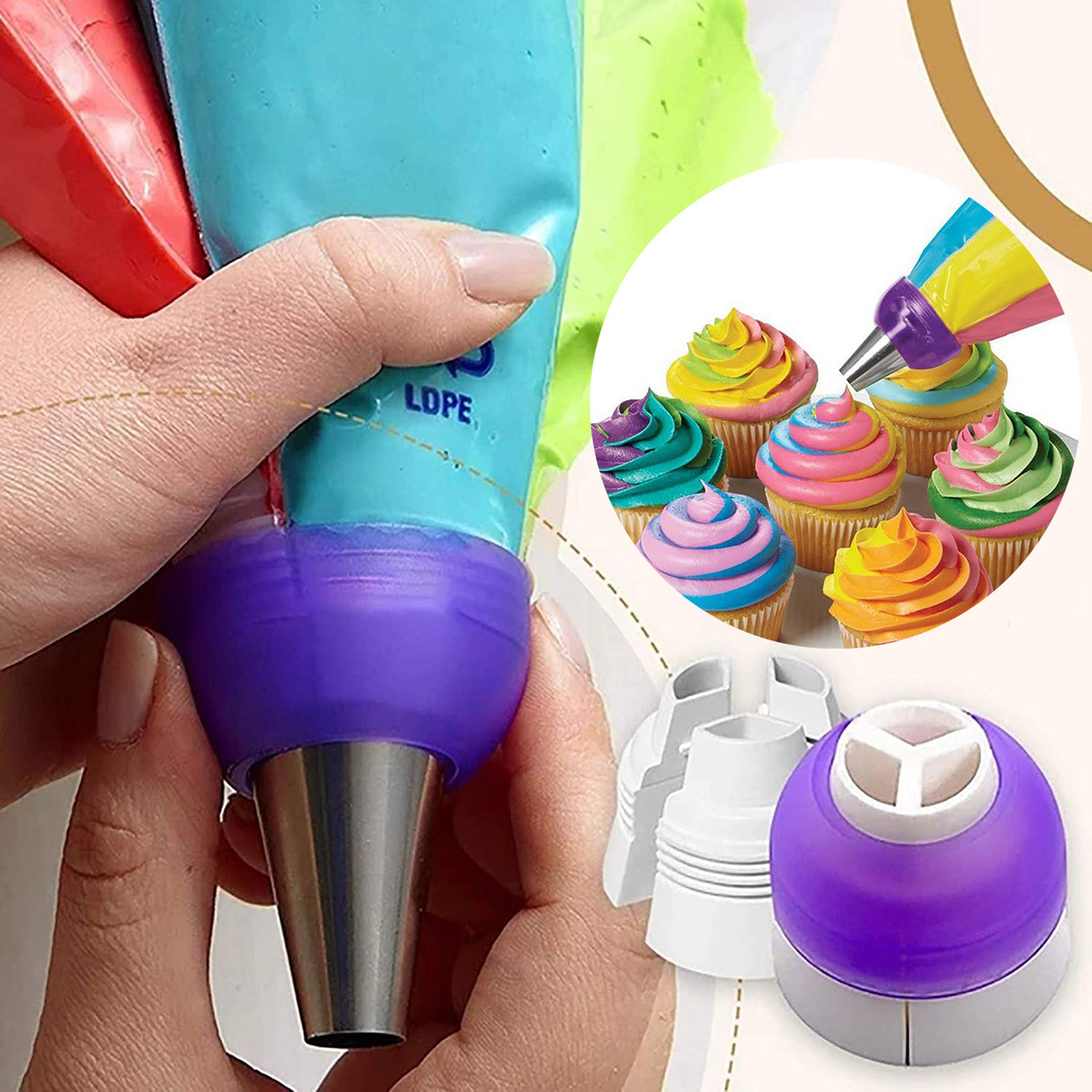 Icing Piping Bag Russian Nozzle Converter Coupler Cake Cream Pastry Bag Nozzle Adapter For Cupcake Fondant Cookie Baking Kitchen