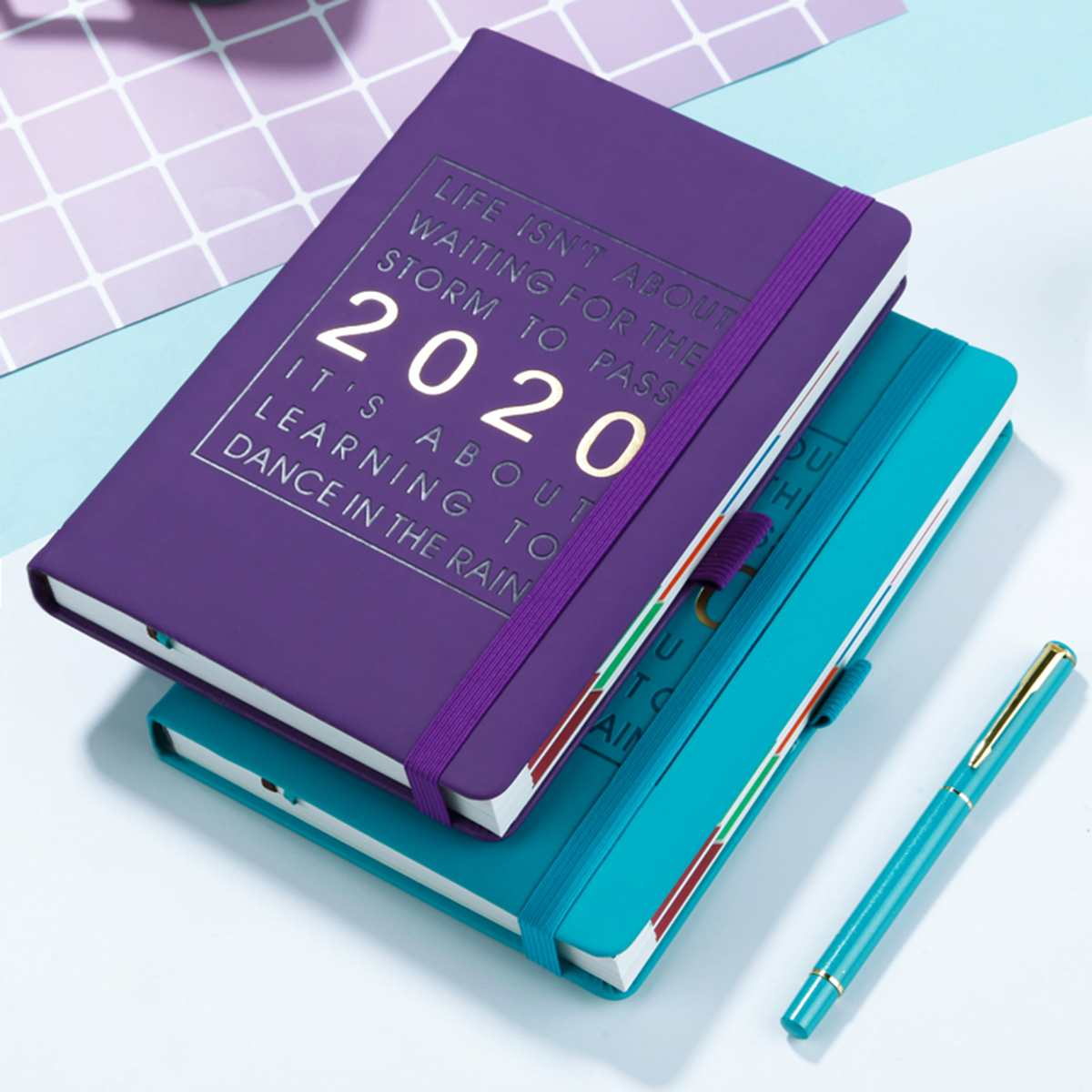 8 Colors Fashion Agenda 2020 Thicken Notebook A5 PU Leather Planner 2020 Jan-Dec Timeline Efficiency Journal English Language