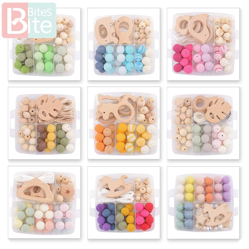 Bite Bites 1Set Baby Teether DIY Silicone Beads Pacifier Clip Chain Baby Mobile Wool Ball BPA Free Wooden Crochet Beads Teether
